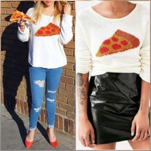 Urban Outfitters BDG Pizza Cream Hipster Sweater
